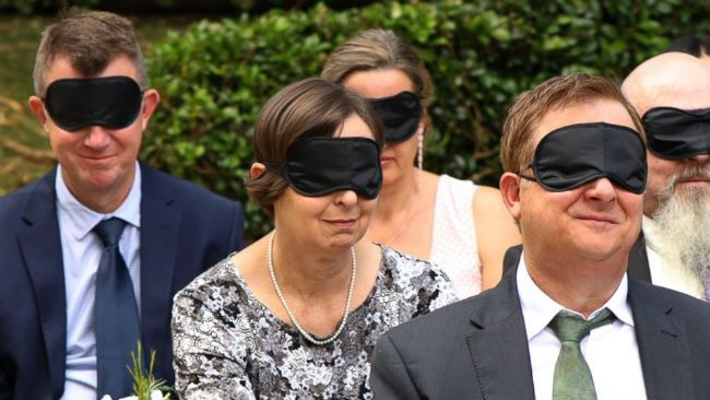 Blindfold wedding
