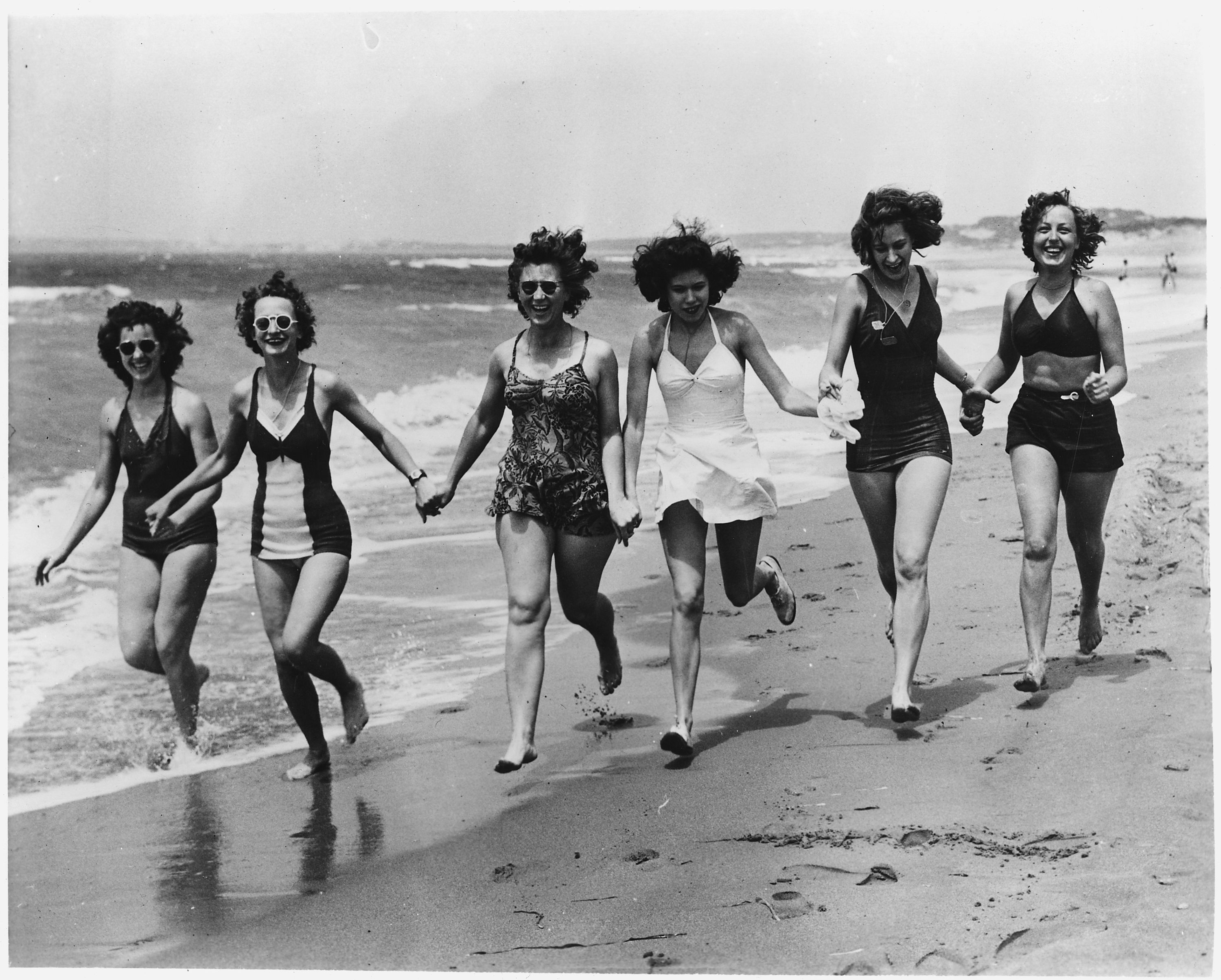 Women on the beach in the 50s