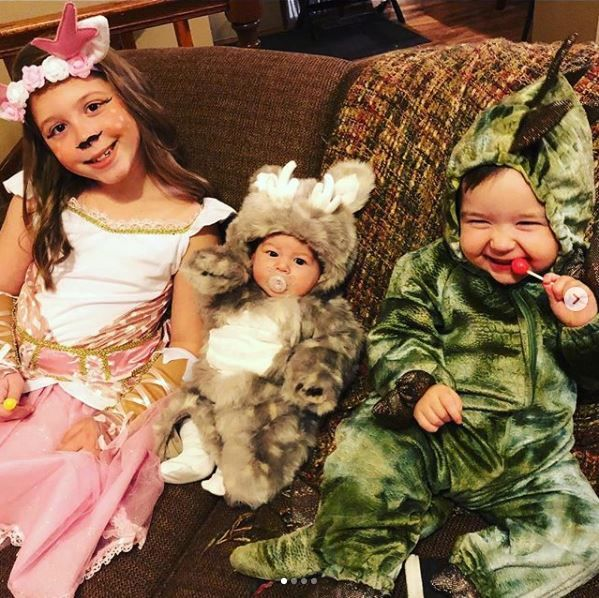 Chelsea's children dressed up for Halloween