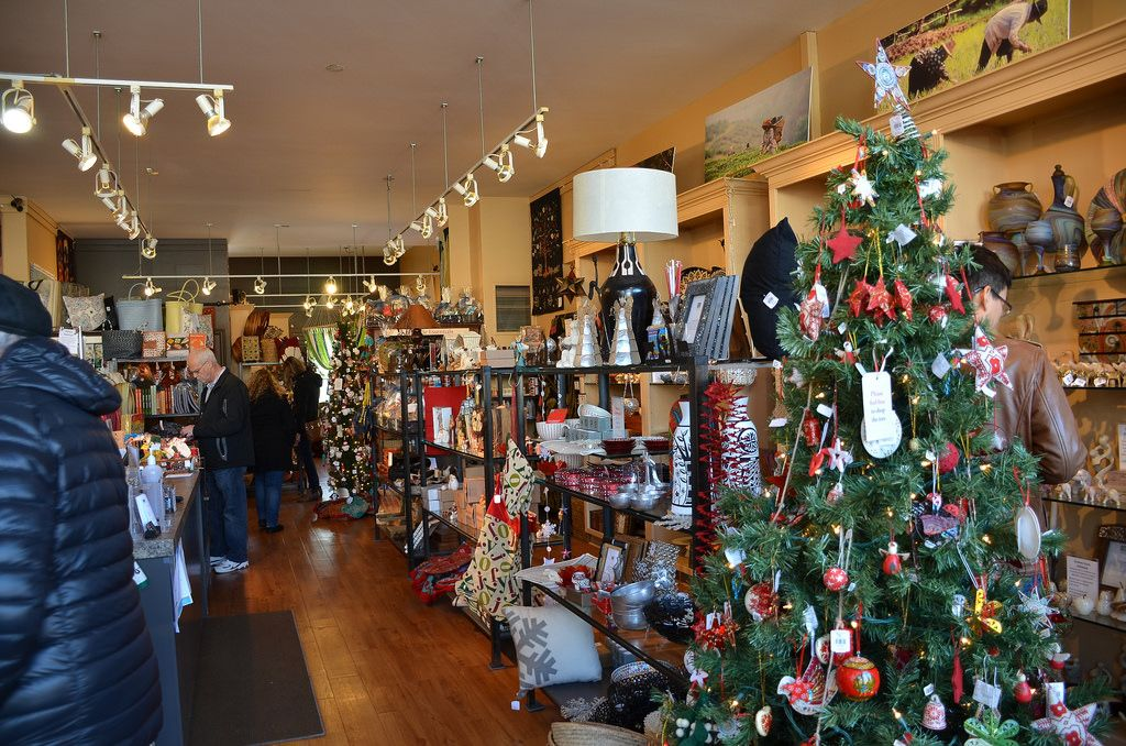 A store with Christmas products up for sale