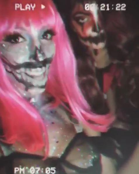 Farrah and Sophia wearing spooky makeup
