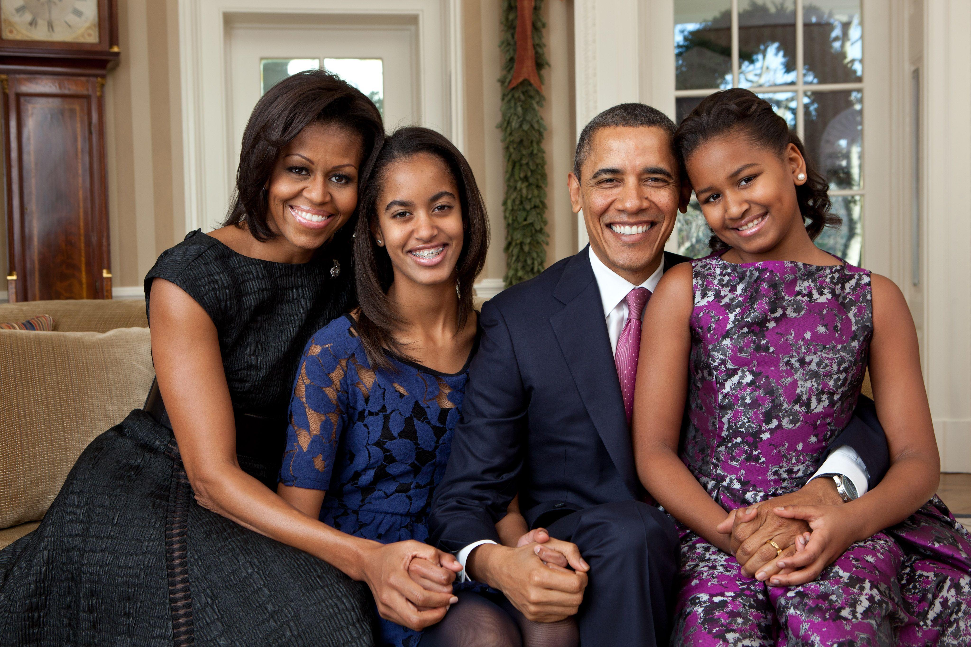 Michelle, Barack, Malia, and Sasha Obama