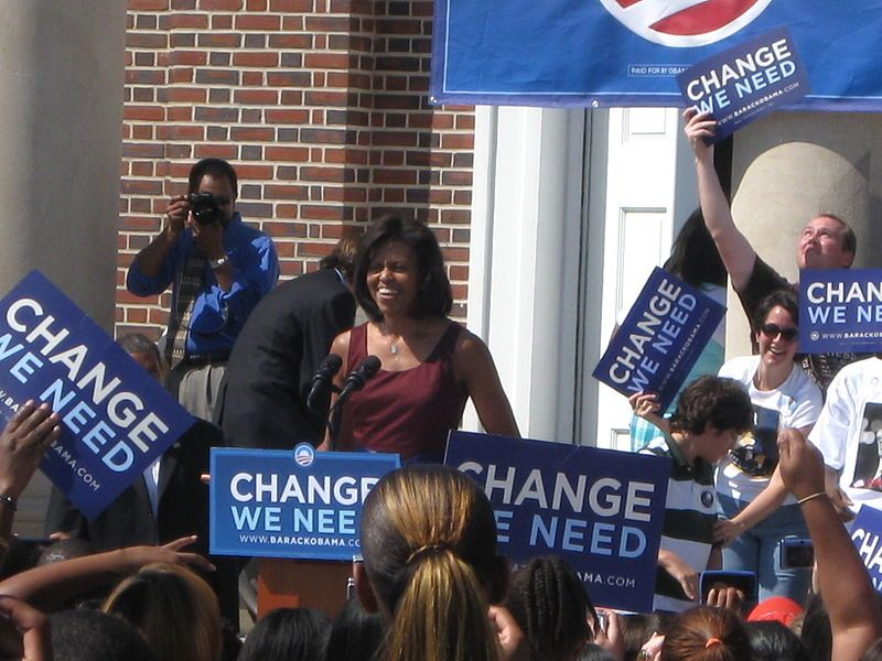 Michelle Obama campaigning in the 2008 election