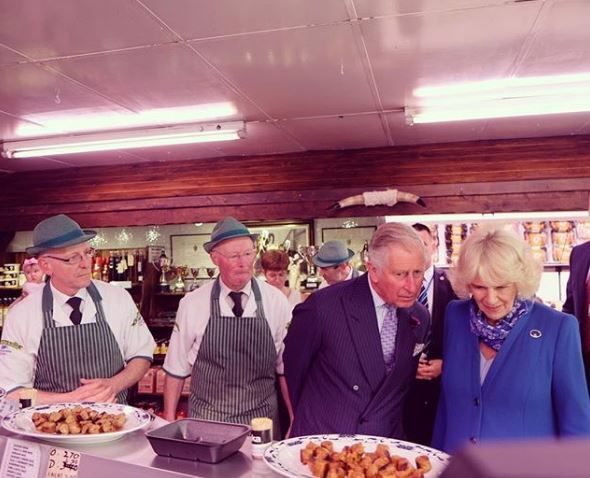 Prince Charles and Camilla Parker Bowles at McGettigan & Sons Craft Butchers.
