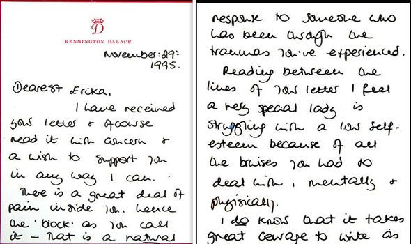 A handwritten letter from Princess Diana to a woman named Erika