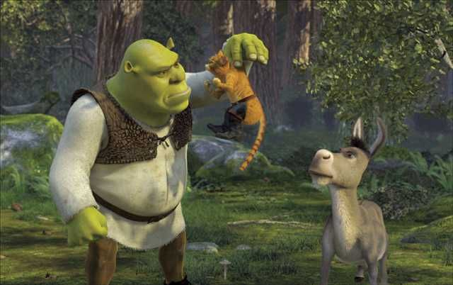 Shrek, Puss in Boots, and Donkey