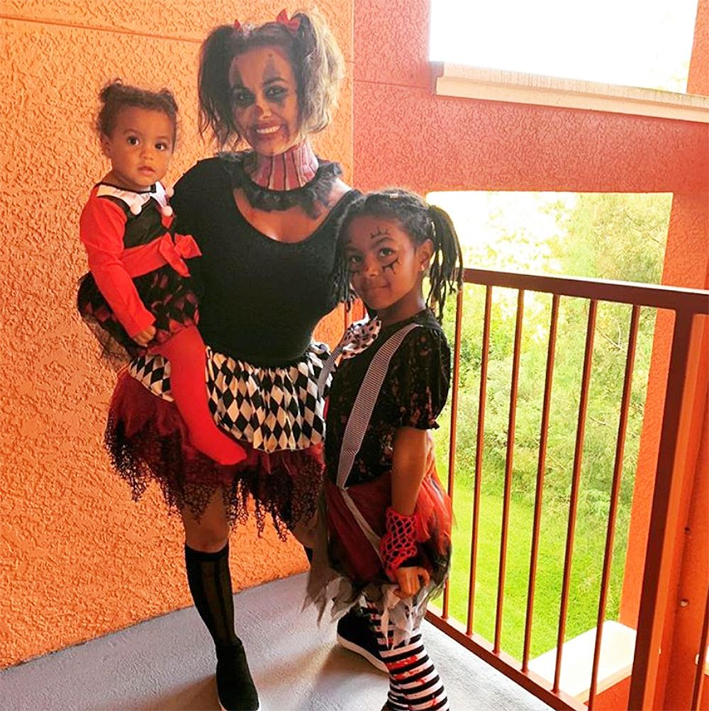 Briana Dejesus and her daughters dressed up as killer clowns.