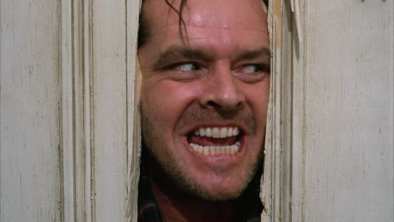 """Jack Nicholson as """"Jack Torrence"""" saying """"Here's Johnny!"""" in 'The Shining'"""