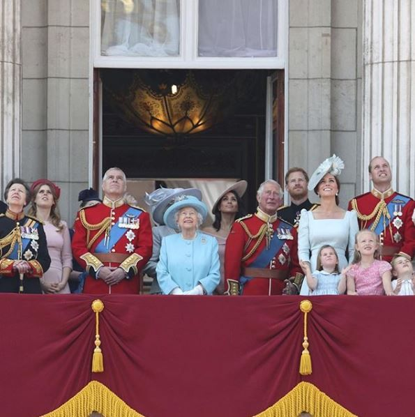 The royal family watching the Trooping the Colour