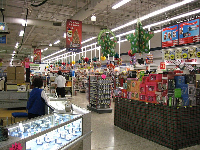 Walmart with Christmas items for sale