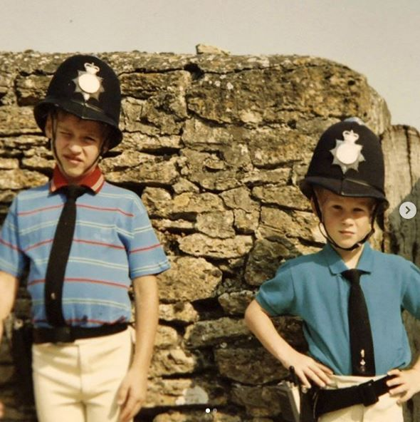 A young Prince William and Prince Charles