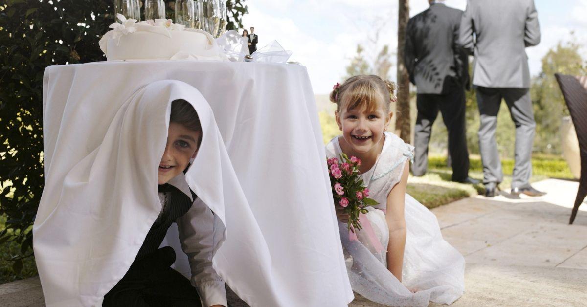 kids playing at a wedding