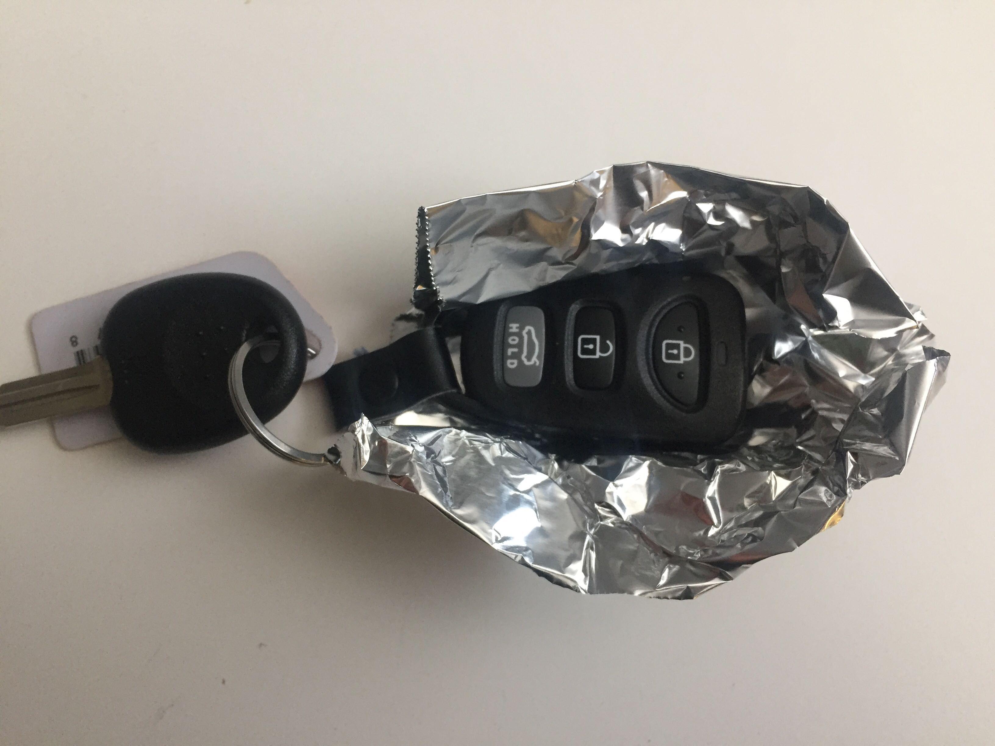 Key fob in aluminum foil