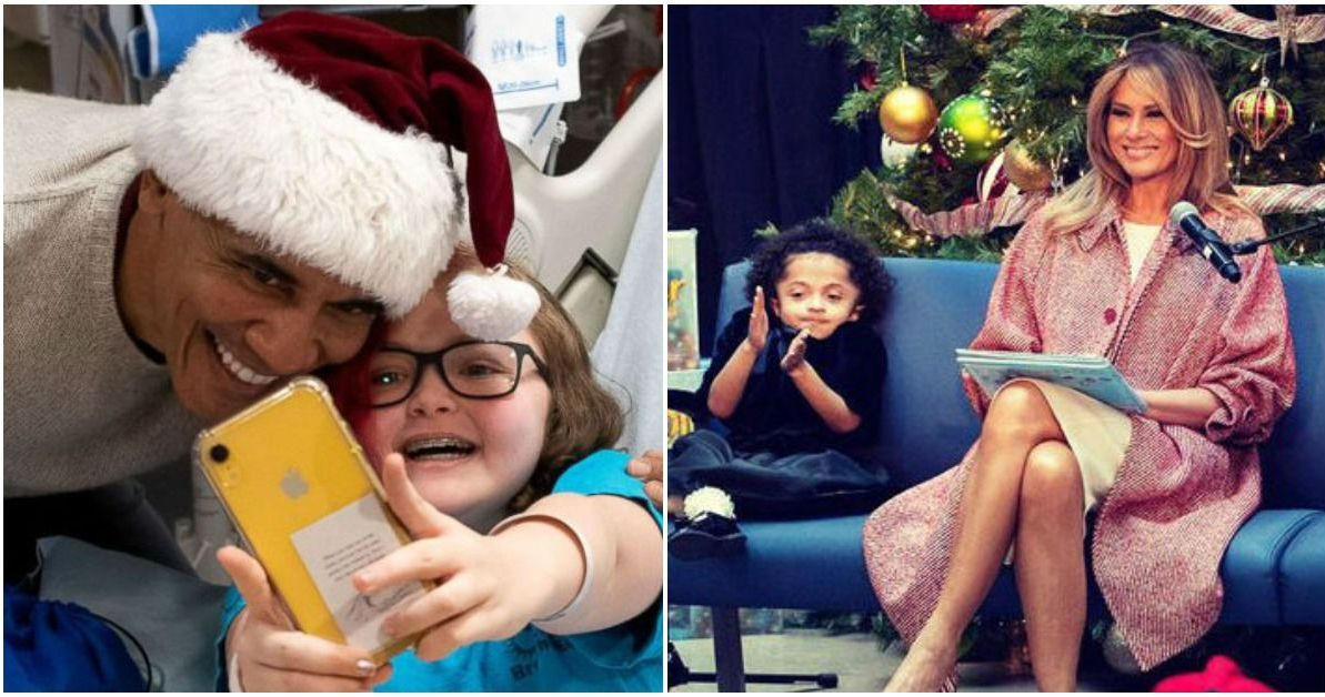 Obama Christmas.Obama Claus And Melania Trump Brought Christmas Cheer To A