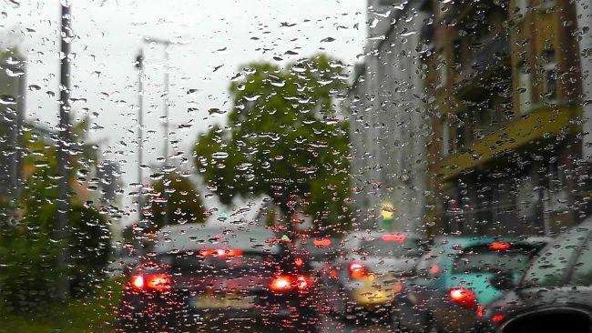 Rain traffic jam