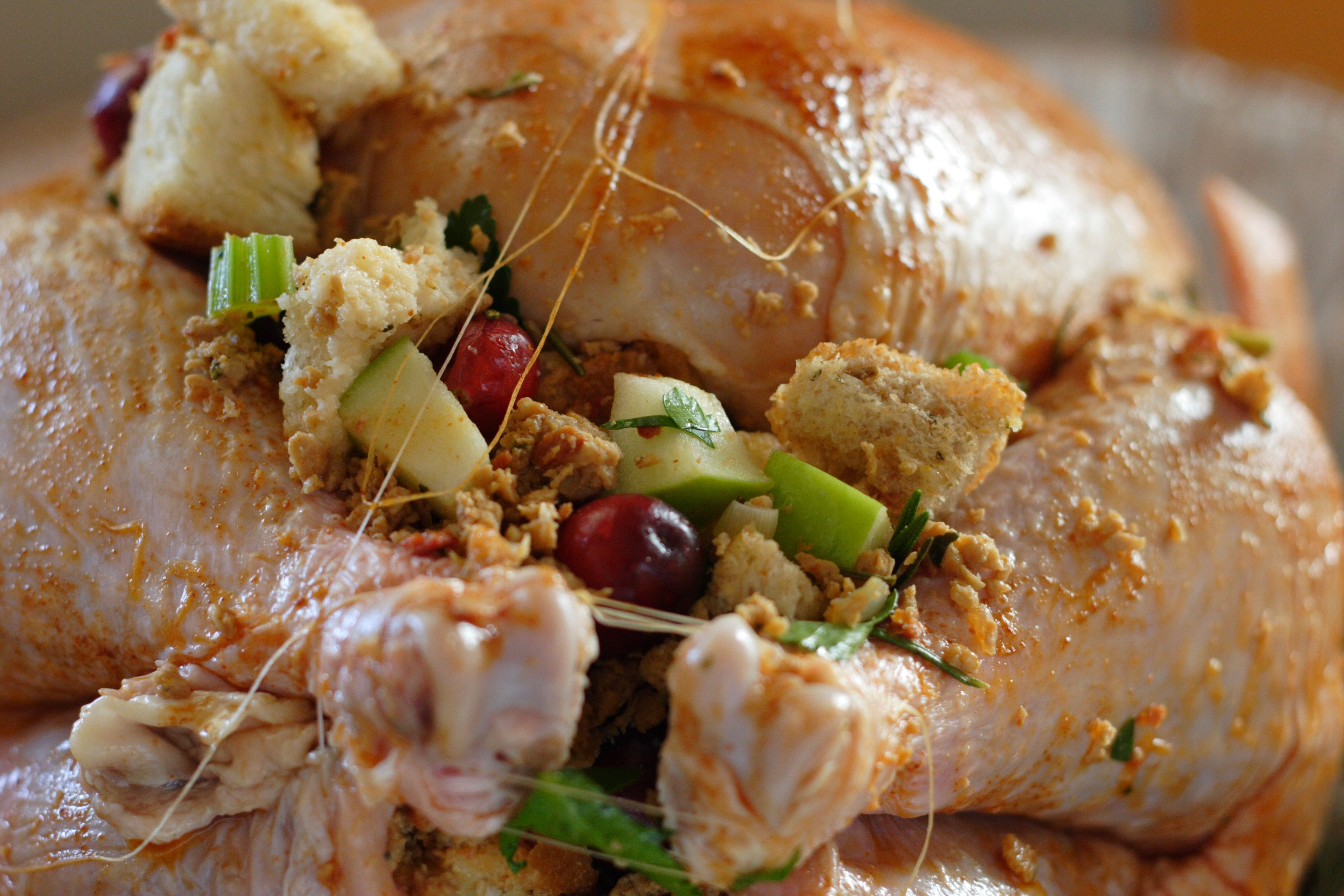 Raw turkey with stuffing