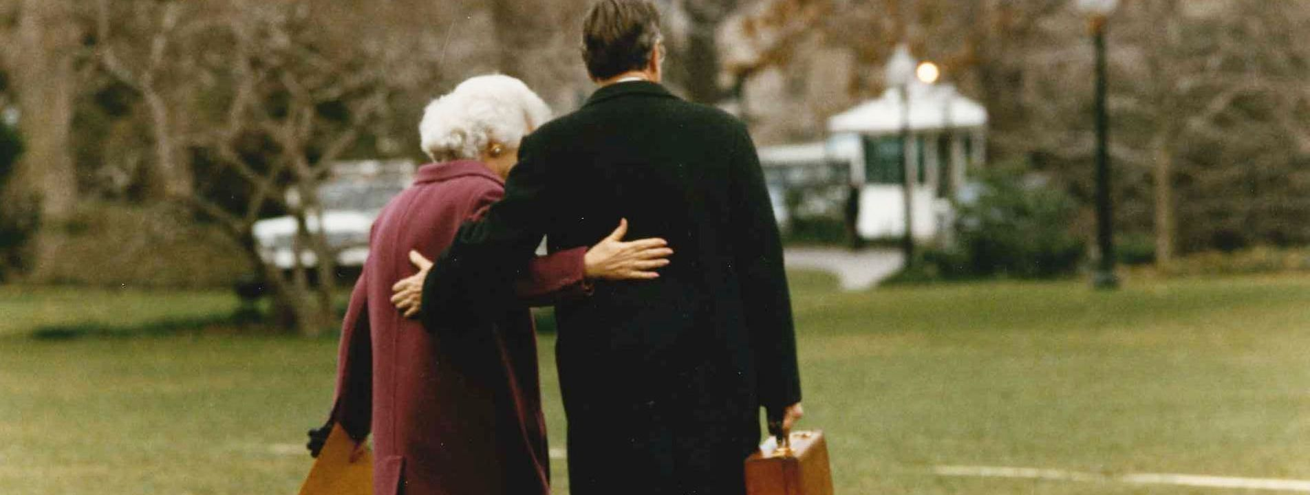 George And Barbara Bush leave