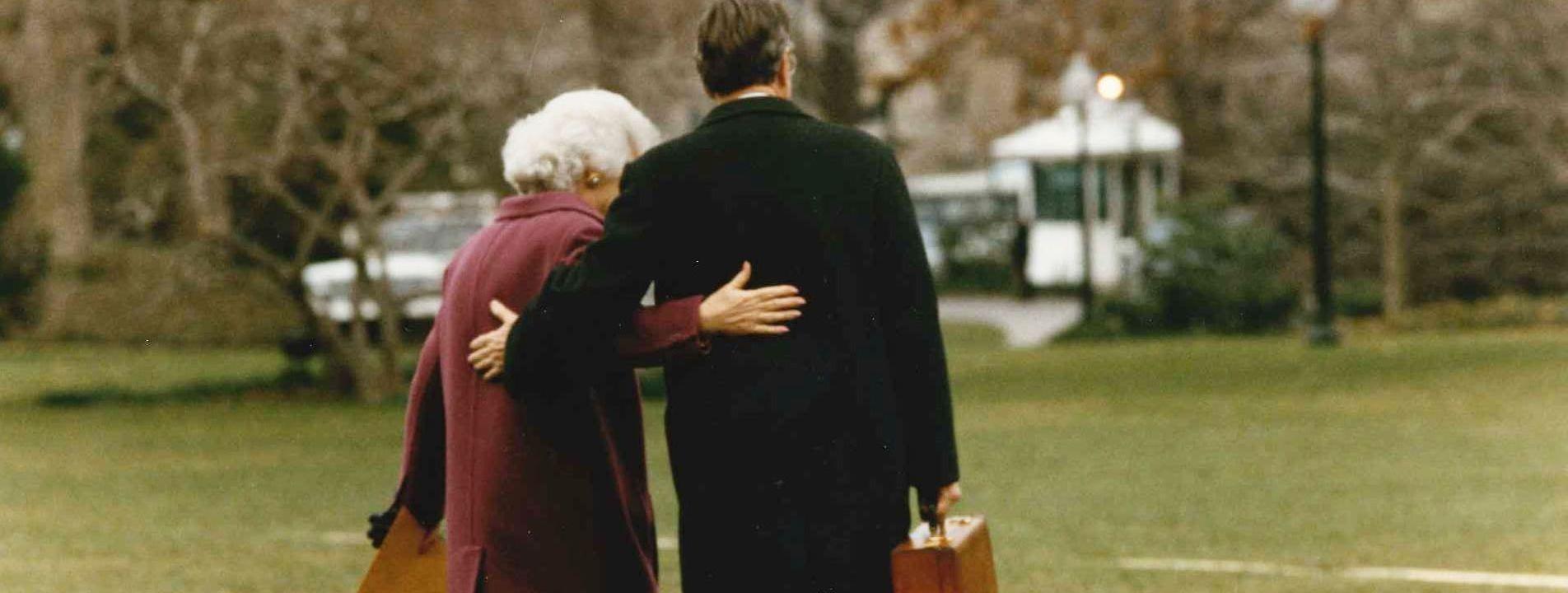 George And Barbara Bush leave