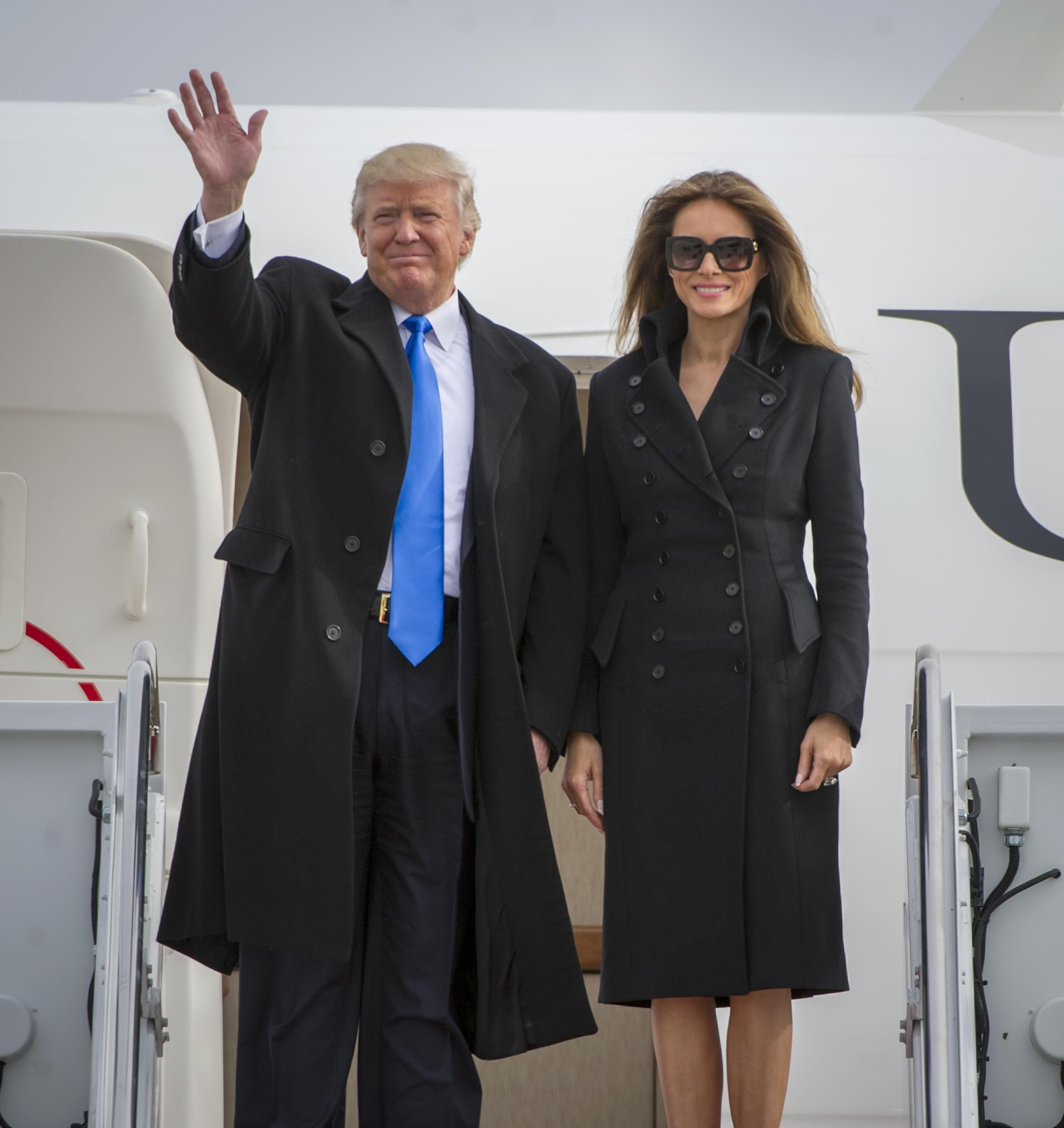 Donald Trump and Melania deplaning