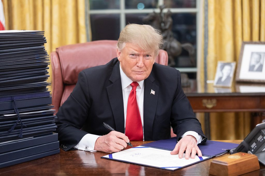 Donald Trump at his desk