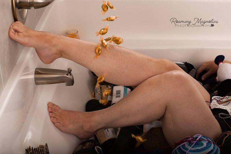 Grandma in bathtub with yarn