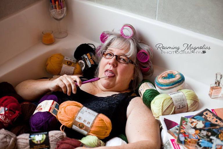 Grandma in bathtub with yarn