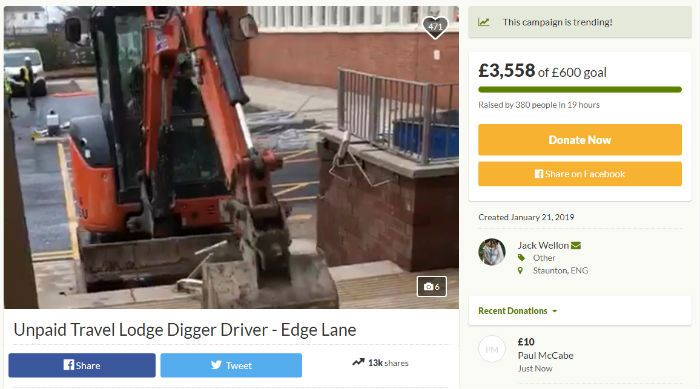 Digger driver Travelodge