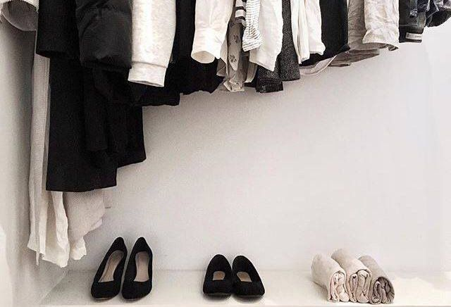 Tidy black and white closet