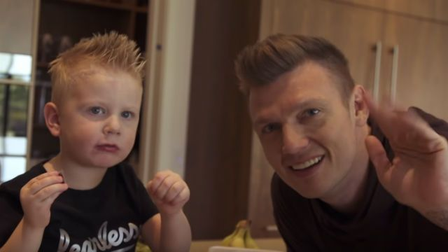 Nick Carter and his son in the No Place video