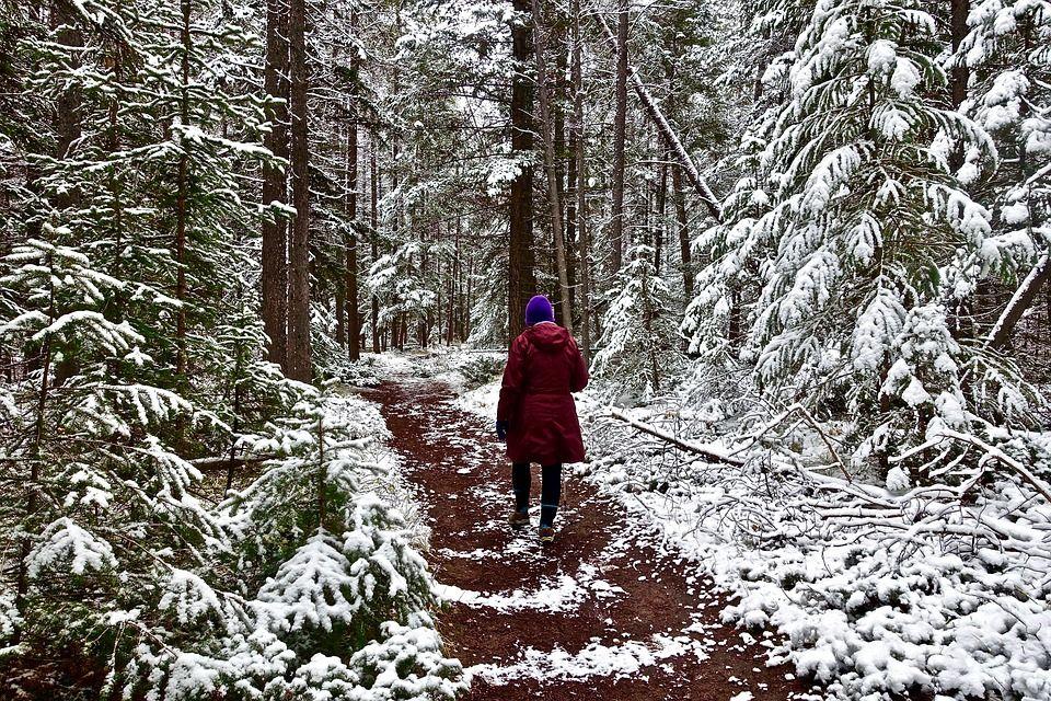 Walking outside in winter