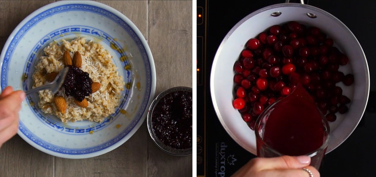 photo may contain overhead shot of oatmeal in a blue and white bowl with almonds and chia jam