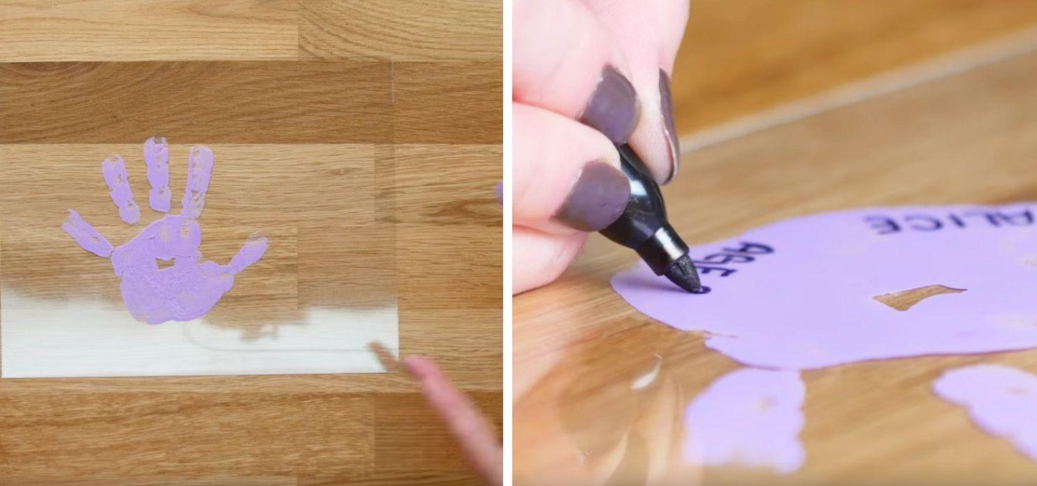 kids purple handprint on Shrinky Dinks plastic