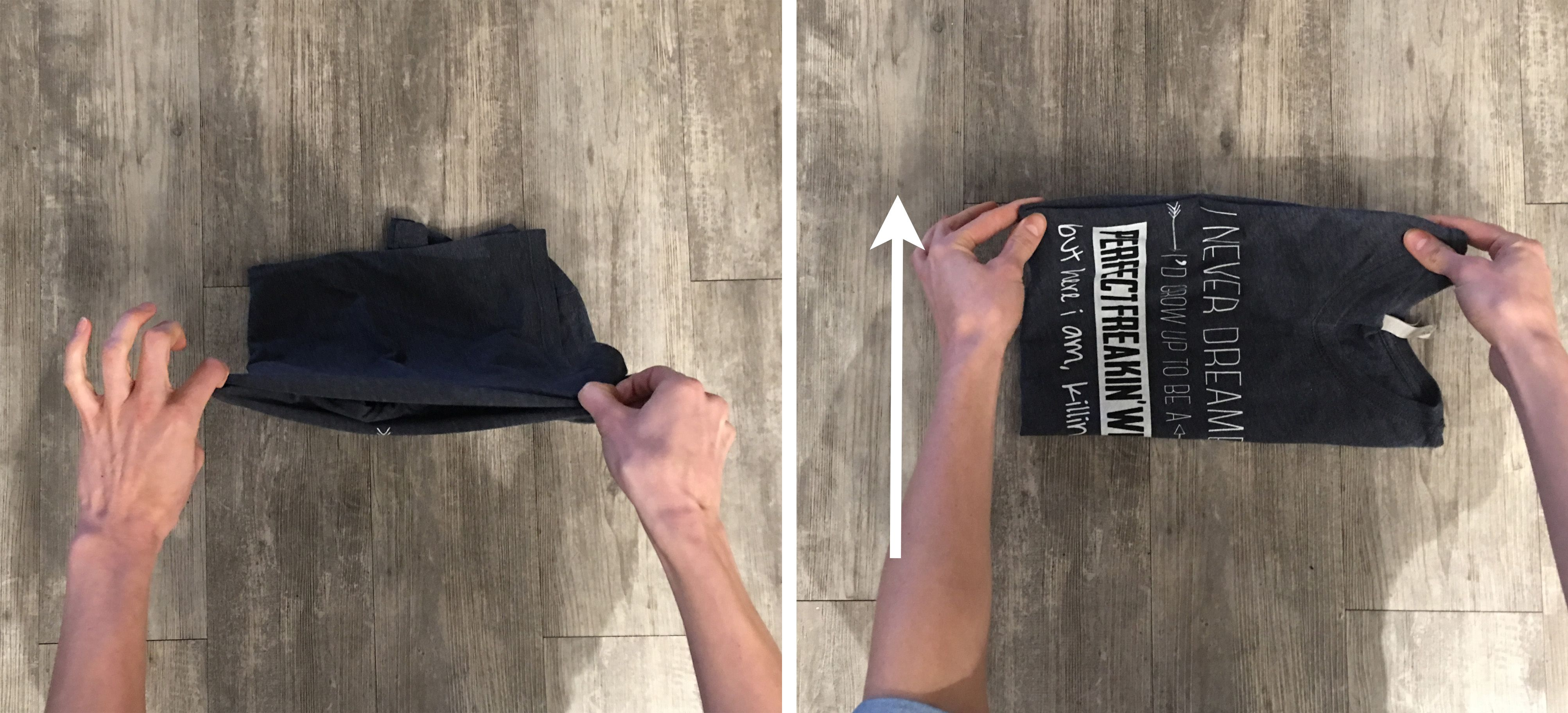 2 frames of a grey t-shirt being folded with a hack technique