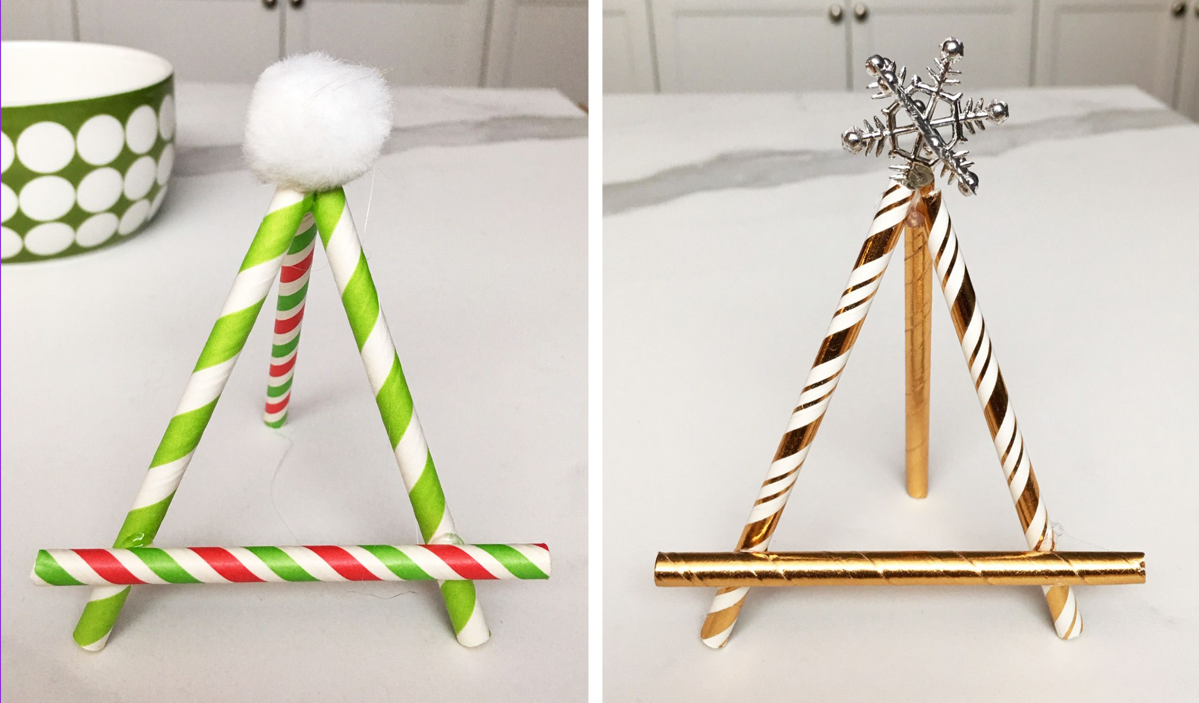 2 green and gold festive place card holders made out of paper straws
