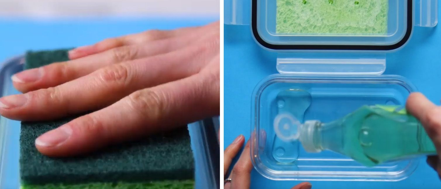 green dish sponge being glued onto a tupperware lid