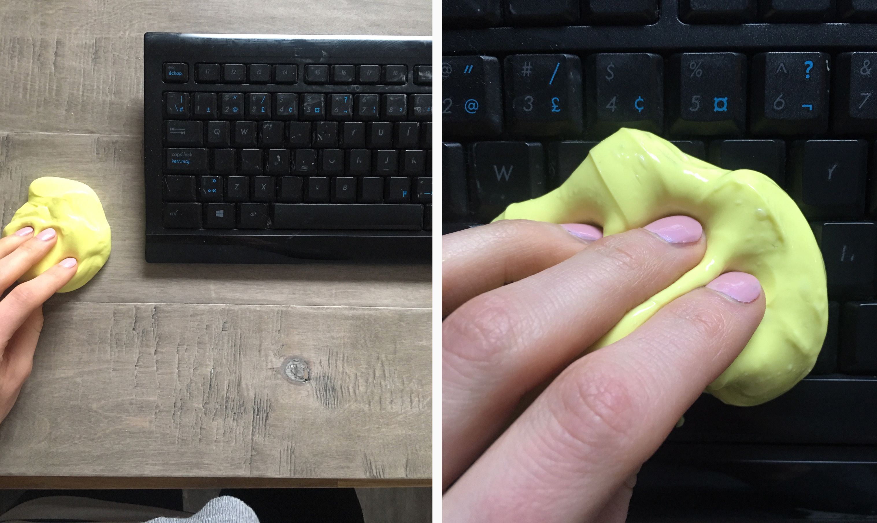 Yellow slime beside a black keyboard