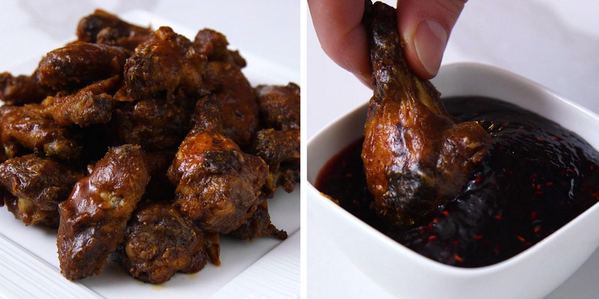 crispy peanut butter chicken wings and raspberry jam sauce