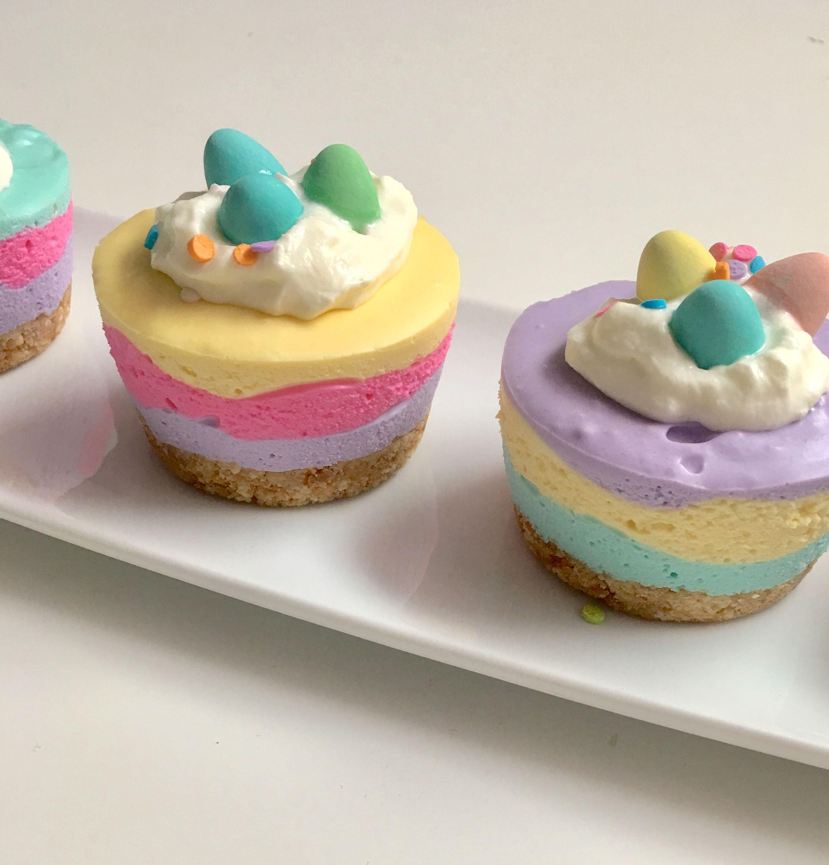 mini pastel no bake mini egg cheese cakes