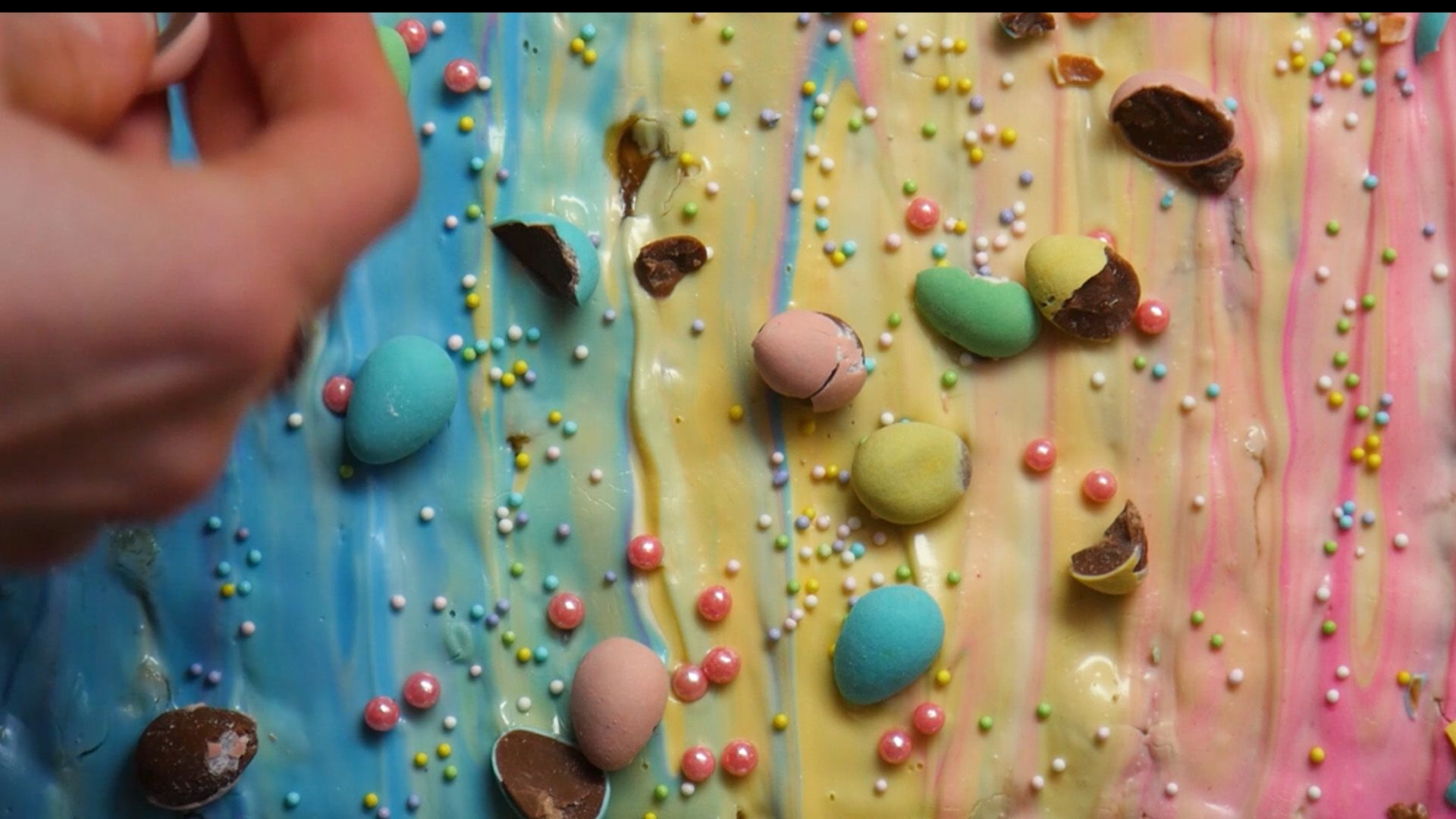 close up of mini eggs as topping on easter crack