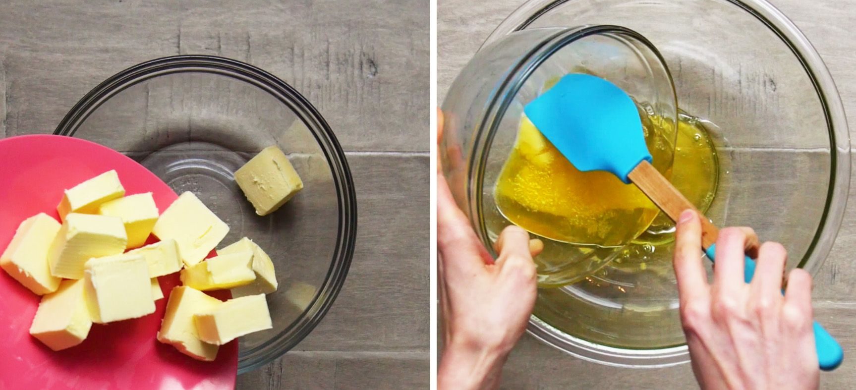 image may contain two photos side by side of cubes of butter and the second of half melted butter being scraped into a glass bowl