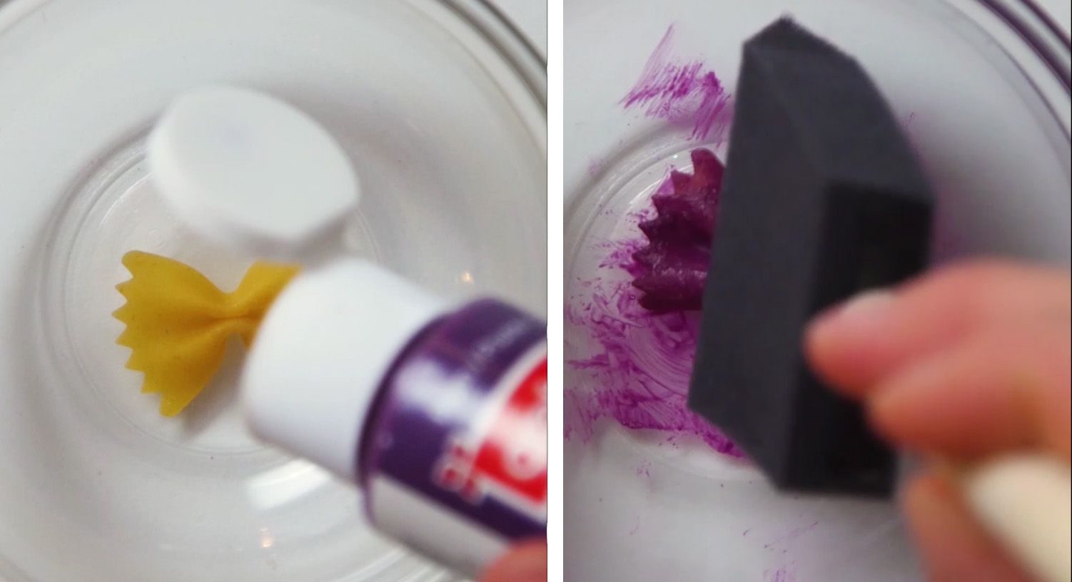 single piece of bowtie pasta being painted purple