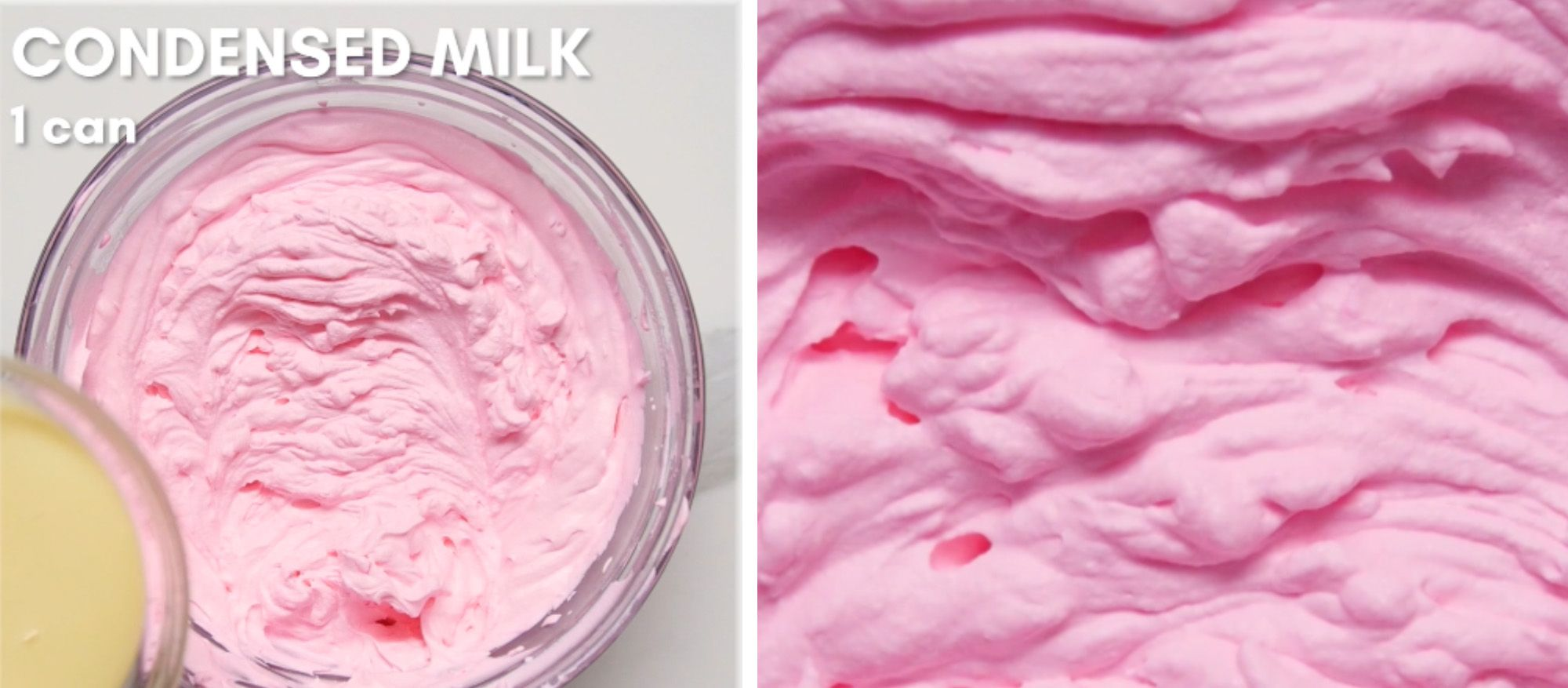 condensed milk being held above a bowl of pink whipped cream