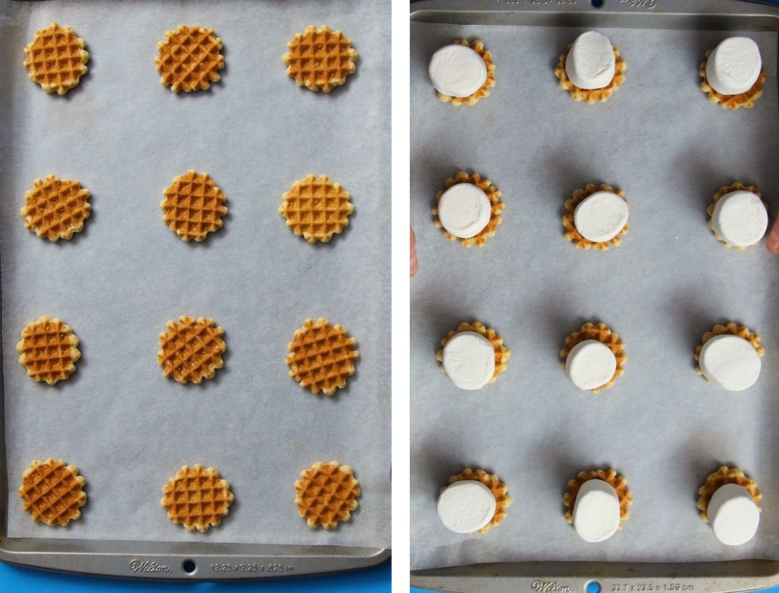 12 mini waffle wafers places on a silver baking sheet with 12 large marshmallows on top of them