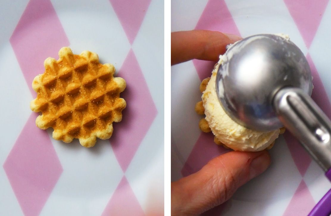 waffle wafer with a scoop of vanilla ice-cream being placed on top