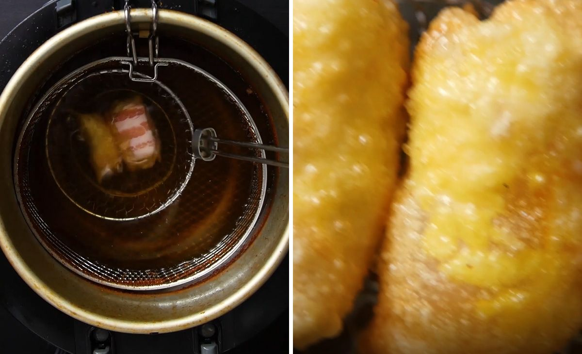 mini wonton burritos cooking in a deep fryer
