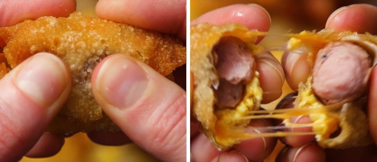 mini wonton breakfast burrito being pulled apart with gooey cheddar cheese strings