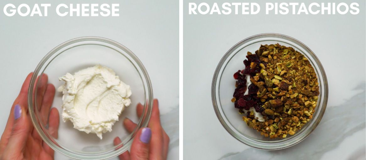goat cheese, pistachios, salt and dried cranberries in a glass mixing bowl