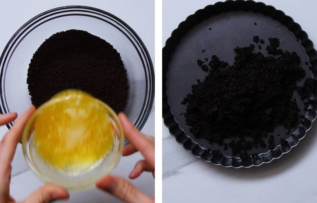 Chocolate wafer pie crust being made in a bowl