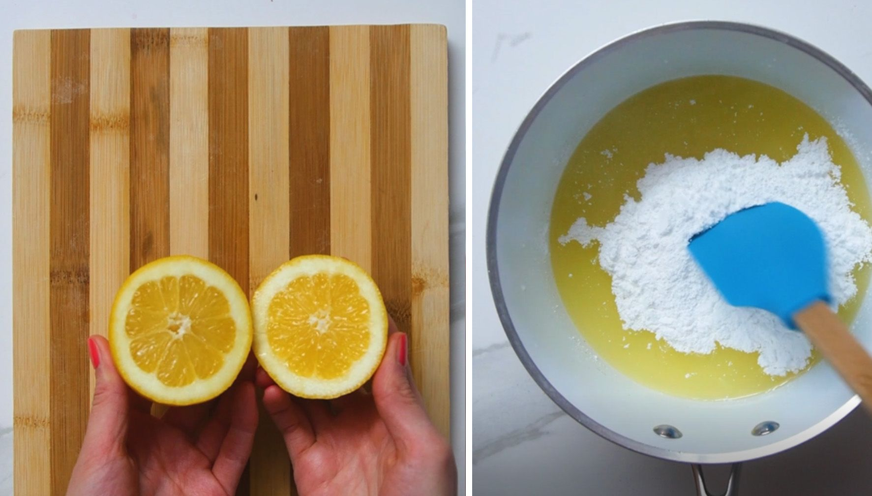 lemon cut in half with magnesium powder in a sauce pan