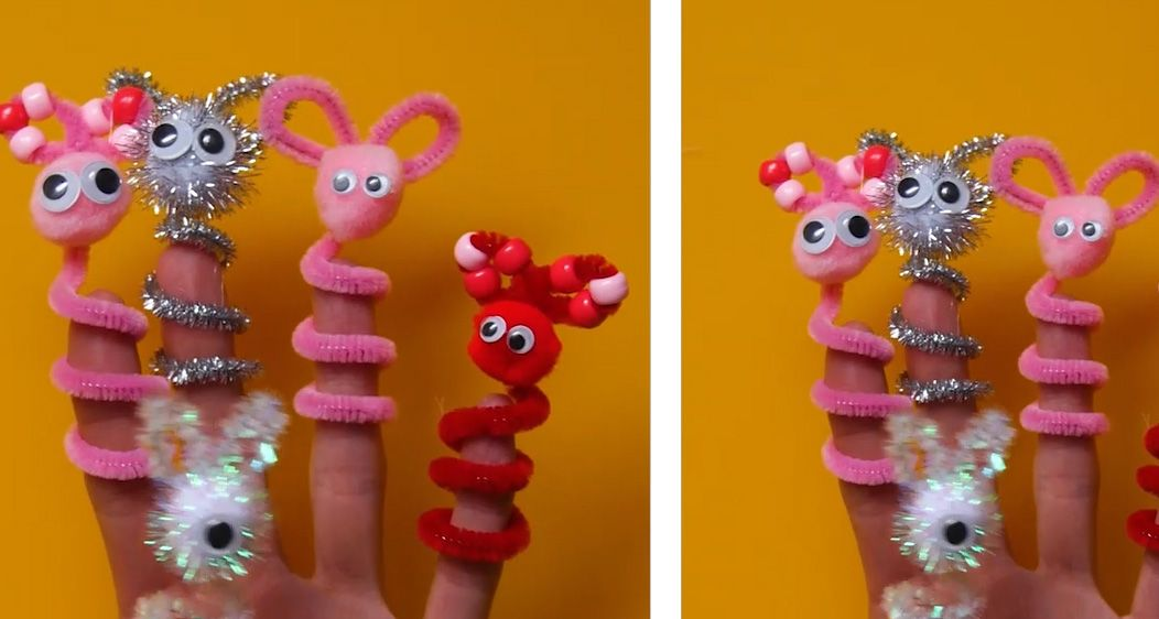 pink pipe cleaner finger puppets on fingers